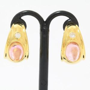 ピンクトルマリン/ダイヤモンド 0.05ct×2 イヤリング  18金イエローゴールド(K18YG)   【中古】 ジュエリー 【新品仕上げ済み】 netshop|jewelry-total