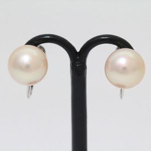 真珠  パール 約 8.5mm イヤリング  14金ホワイトゴールド(K14WG)   【中古】 ジュエリー 【新品仕上げ済み】 netshop|jewelry-total