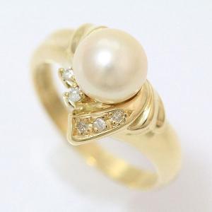 真珠  パール 約7.2mm ダイヤモンド 計0.06ct リング 12号 18金イエローゴールド(K18YG)   【中古】ジュエリー 【新品仕上げ済み】 netshop|jewelry-total