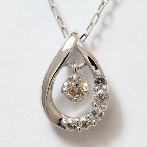 4℃(ヨンドシー) ネックレス しずく ダイヤモンド/ホワイトトパーズ   10金ホワイトゴールド(K10WG)   【中古】ブランド ジュエリー 【新品仕上げ済み】 netshop jewelry-total