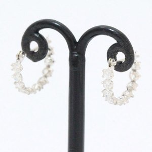 フープ キュービック ピアス  14金ホワイトゴールド(K14WG)   【中古】 ジュエリー 【新品仕上げ済み】 netshop|jewelry-total