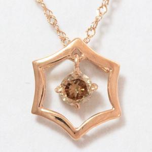ブラウンダイヤモンド 0.10ct ネックレス  10金ピンクゴールド(K10PG)   【中古】 ジュエリー 【新品仕上げ済み】 netshop|jewelry-total