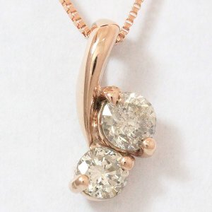 ブラウンダイヤモンド 計0.30ct ネックレス  10金ピンクゴールド(K10PG)   【中古】 ジュエリー 【新品仕上げ済み】 netshop|jewelry-total