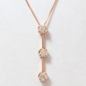 スリーストーン ダイヤモンド 計0.30ct  ネックレス  14金ピンクゴールド(K14PG)   【中古】 ジュエリー 【新品仕上げ済み】 netshop|jewelry-total