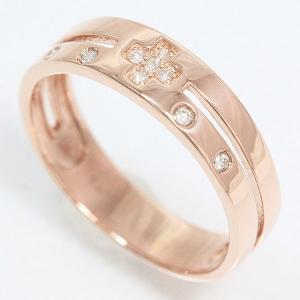 クロス ダイヤモンド リング 13号 10金ピンクゴールド(K10PG)   【中古】ジュエリー 【新品仕上げ済み】 netshop|jewelry-total