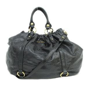 miumiu(ミュウミュウ)  2WAYバッグ ハンドバッグ ロングショルダーバッグ 斜め掛け RR1708 黒 ブラック レザー【ブランドバッグ】  【中古】|jewelry-total