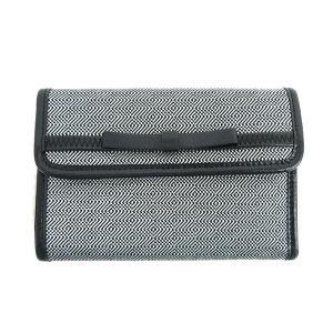 miumiu(ミュウミュウ) リボン 三つ折り財布 ミディアム財布  黒 ブラック×グレー キャンバス 【ブランド財布】  【中古】 netshop|jewelry-total