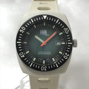 5ad408ee42 FHB Classic(エフエイチビークラシック) F-605 グリーン文字盤 ステンレススチール(SS)×ラバー クオーツ メンズ 白 ホワイトベルト  【中古】腕時計 net shop