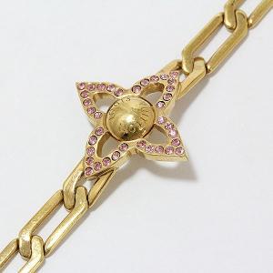 LOUIS VUITTON(ルイヴィトン) ブレスレット モノグラムフラワー M66091 ラインストーン ゴールドメッキ ピンク 【中古】 ジュエリー 【新品仕上げ済み】|jewelry-total