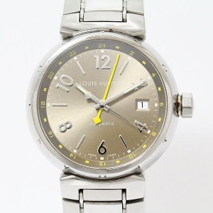 LOUIS VUITTON(ルイヴィトン) タンブールGMT Q1132 ブラウン ステンレススチール(SS) オートマティック(自動巻き) メンズ  【中古】 腕時計|jewelry-total
