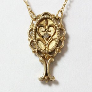 ネックレス 手鏡 ミラー ダイヤモンド 0.005ct 10金イエローゴールド(K10YG) 【中古】 ジュエリー|jewelry-total