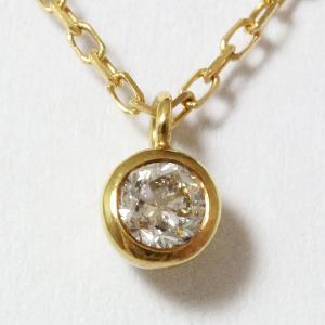 ネックレス 一粒 ダイヤモンド 0.08ct 18金イエローゴールド(K18YG) 【中古】 ジュエリー|jewelry-total