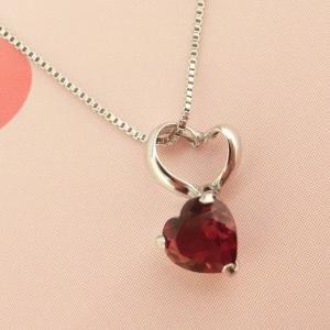 1月のお誕生石 K10WG ガーネット ハート ネックレス|jewelry-watch-bene