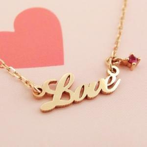 K14PG ルビー LOVEネックレス|jewelry-watch-bene
