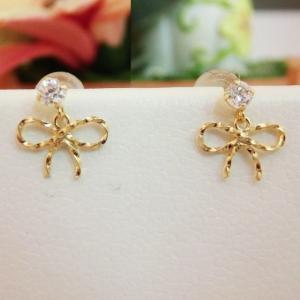 K10 リボン キュービックジルコニア ピアス|jewelry-watch-bene