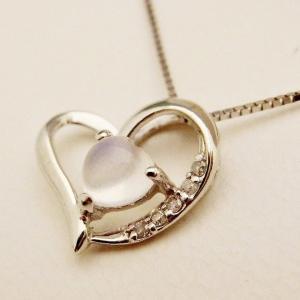 6月のお誕生石 K10WG ブルームーンストーン ダイヤモンド ハート ネックレス|jewelry-watch-bene