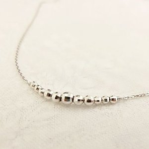 K10WG ミラーボール ラインネックレス|jewelry-watch-bene