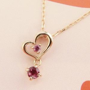 1月の誕生石 K10PG ガーネット ハートネックレス|jewelry-watch-bene