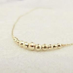 K10YG ミラーボール ラインネックレス|jewelry-watch-bene