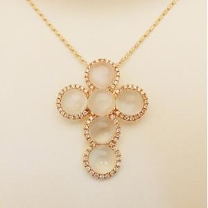 特価 ルナロッサ K18PG ムーンストーン ダイヤモンド0.4ct ネックレス|jewelry-watch-bene