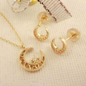 K10 お月様のダイヤモンド ネックレス&ピアスのセット|jewelry-watch-bene