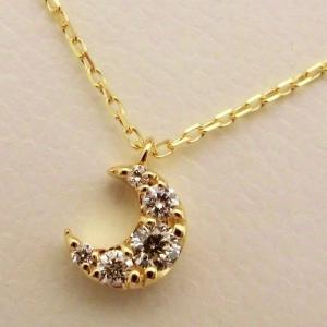 K18 ダイヤモンド0.15ct お月様ネックレス|jewelry-watch-bene