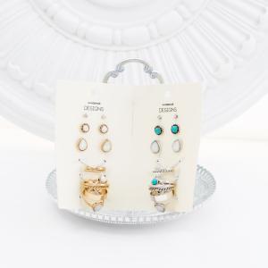 【送料無料】 リング ピアス セット 指輪 アクセサリー アクセ レディース ターコイズター コイズアクセサリー リング&ピアス 重ね付けリング|jewelryhills