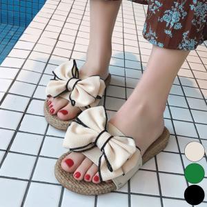 靴 シューズ サンダル スリッパ レディース ミュール リボン ペタンコ フラット|jewelryhills