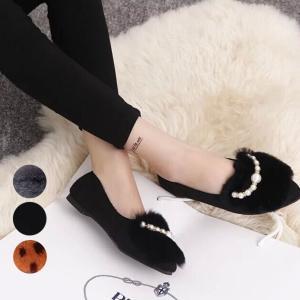 【SALE】 靴 シューズ ファー ファーシューズ フラットシューズ フラット パンプス ペタンコ ペタンコシューズ パール レオパード jewelryhills