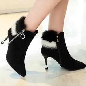 ブーツ ショートブーツ ジップ付き ショート丈 モノトーン 靴  レディース  ヒール 美脚 大人可愛い モノトーン jewelryhills
