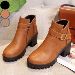 ブーツ ショートブーツ アンクル丈 ショート丈 大人可愛い ベルトデザイン 靴  レディース スエード秋冬|jewelryhills