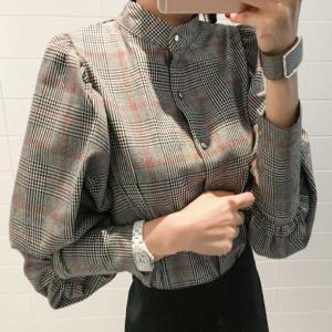 シャツ ブラウス デザインシャツ グレンチェック チェック レディース パフスリーブ バックデザイン リボン|jewelryhills