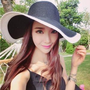 帽子 ハット ツバ広 つば広 つば広帽 レディース 女優帽 紫外線対策 麦わら 麦わら帽子 ブラック 黒 レトロ|jewelryhills