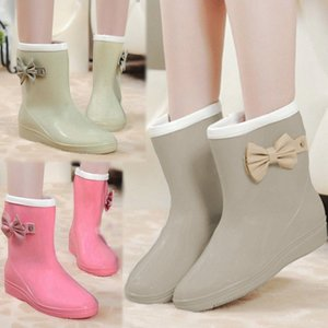 レインシューズ レインブーツ 雨靴 長靴 レディース リボン リボンブーツ リボンレインシューズ ショート丈 ショート|jewelryhills