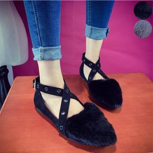 【SALE】 靴 シューズ ファー ファーシューズ フラット フラットシューズ ローヒールパンプス パンプス レディース クロスストラップ クロス|jewelryhills
