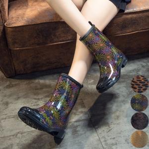 靴 雨 雨靴 長靴 シューズ レインシューズ ブーツ レインブーツ ロング ロングブーツ デザインブーツ レオパード フラワー アラベスク レトロ|jewelryhills
