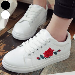 スニーカー 刺繍 花柄 フラワー カジュアル ベーシック シンプル シューズ 靴 レディース|jewelryhills