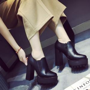 靴 ブーティー ブーツ ショートブーツ レディース サイドゴア 黒 ブラック 厚底 厚底ブーツ チャンキーヒール|jewelryhills