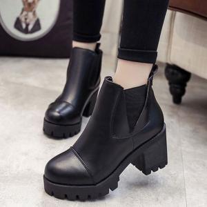 【予約】 靴 ブーティー ブーツ ショートブーツ レディース サイドゴア 黒 ブラック 厚底 厚底ブーツ チャンキーヒール jewelryhills