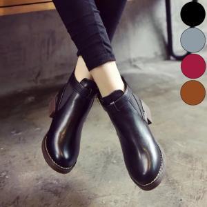 靴 ブーティー ブーツ ショートブーツ レディース サイドゴア 黒 ブラック ラウンドトゥ ローヒール|jewelryhills