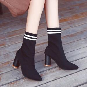 ブーツ ショートブーツ ショート丈 ソックスブーツ レディース パンプスブーツ 靴下ブーツ チャンキーヒール 太ヒール|jewelryhills