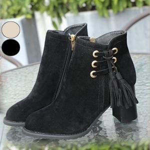 ブーツ ショートブーツ アンクル丈 ジップ付き ショート丈 タッセル付き 靴 レディース|jewelryhills
