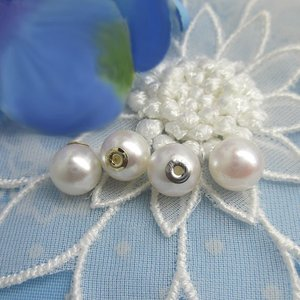 K18 K18WG パール キャッチ 7mm 本パール 真珠 キャッチ-0424-0425 (1個=1ペア)|jewelrypetitpoint1