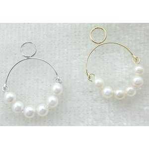 P-3397-3398 チャーム パーツ  K10WG K10YG 貝パール パール シングル・パーツ(1個売り)|jewelrypetitpoint1