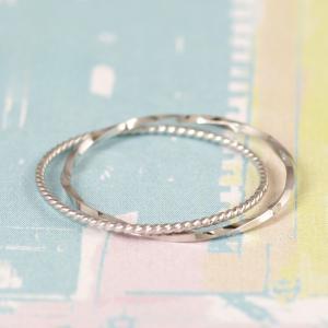 18金リング 指輪 リング レディース K18WG 2連 極細リング