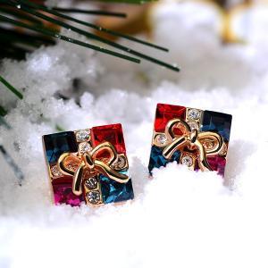 ピアス レディース スワロフスキー クリスマス リボン 可愛い K18金RGP プレゼント