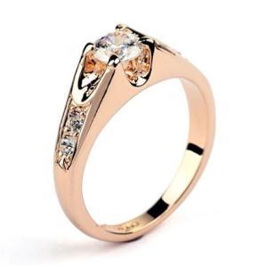 指輪 リング K18 煌きダイヤモンドCZ彩石 ジュエリーリング ピンクゴールドK18RGP