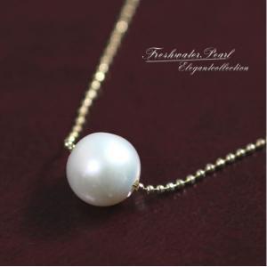 日本製高品質淡水パールネックレス♪ボールチェーン/淡水真珠AAA|jewelrysanmi