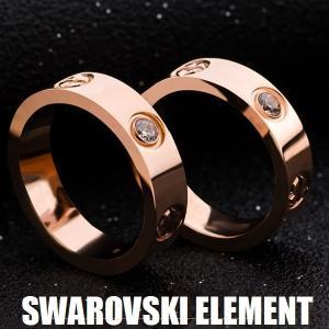 指輪 リング日本製 海外セレブ愛用 スワロフスキー 刻印 あすつく LOVEリング プレゼント K18 アクセサリーペアにも|jewelrysanmi