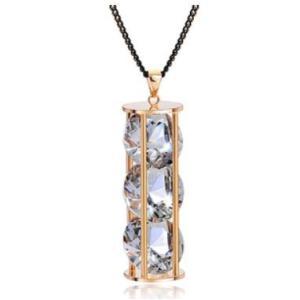 超大粒 煌きダイヤモンドCZ彩石 ジュエリーロングネックレス ピンクゴールド仕様18K jewelrysanmi